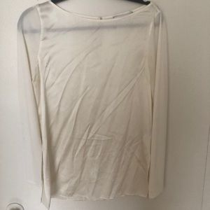 Club Monaco White silk top with ribbed sleeve